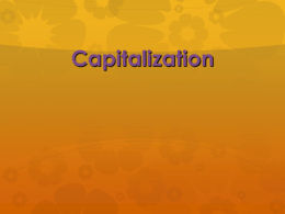 Capitalization - Liberty University