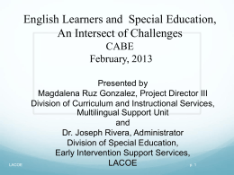 Essential Elements for EL in Special Education and