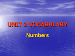 UNIT 2 VOCABULARY