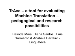 TrAva – a tool for evaluating Machine Translation