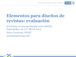 Design Elements for Print Journals: Journal Evaluation