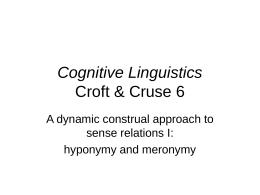 Cognitive Linguistics Croft & Cruse 6