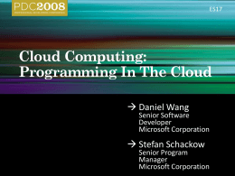 ES17 – Cloud Computing- Programming in the Cloud