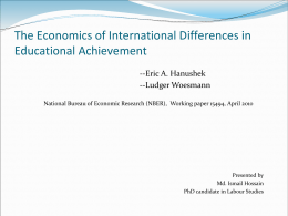 The Economics of International Differences in Educational