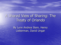 A Shared Vide of Sharing: The Treaty of Orlando