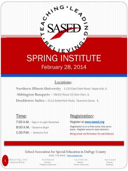 SASED SPRING INSTITUTE March 2, 2012