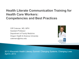 Health Literacy Competencies for Health Professionals