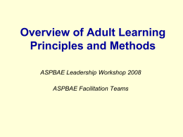 Overview of Adult Learning Principles and Methods