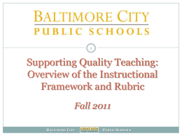 Why an Instructional Framework and Rubric?