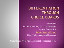 Differentiation through Choice Boards - AuroraGT