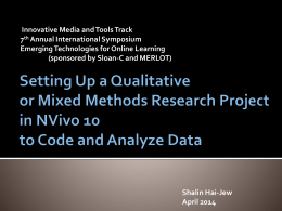 Setting Up a Qualitative or Mixed Methods Research …
