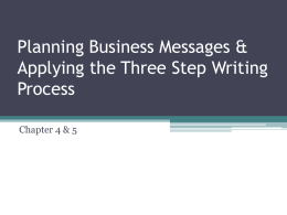 Applying the Three Step Writing Process