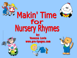 Nursery Rhymes and Early Language Development