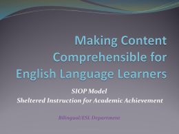 Making Content Comprehensible for English Language …