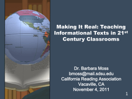 Making It Real: Teaching Informational Texts in 21st