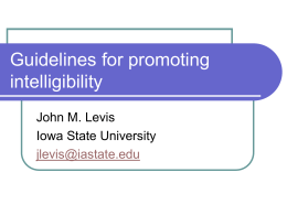 Guidelines for promoting intelligibility
