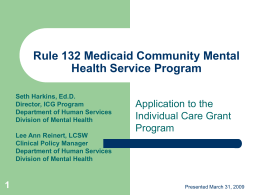 Rule 132 Medicaid Community Mental Health Service …
