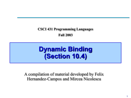 Lecture 24: Dynamic Binding