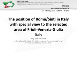 The position of Roma/Sinti in Italy with special view to