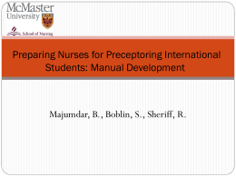 International Preceptorship Training