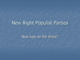 New Right Populist Parties - Memorial University of