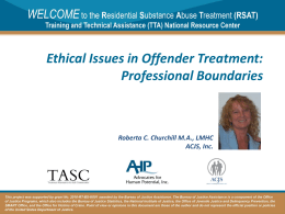RSAT Training Tool: Trauma-Informed Correctional Care