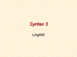 Syntax 4 - University of Washington