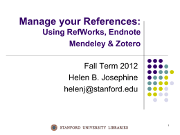 Citation Management Options Fall 2012