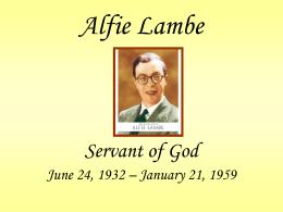 Alfie Lambe - Legion of Mary Presentata Curia