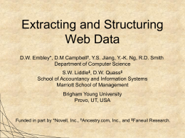 Extracting and Structuring Web Data