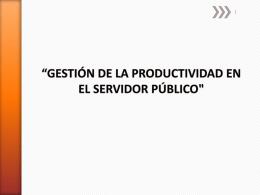 'GESTION DE LA PRODUCTIVIDAD EN EL SERVIDOR …