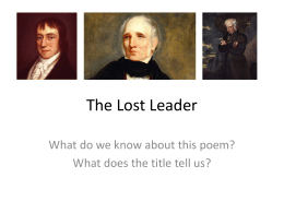 The Lost Leader - A Level Literature at Keswick School