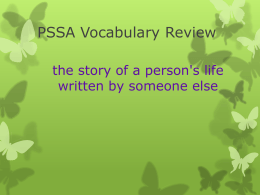 PSSA Vocabulary Review