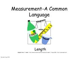Measurement-A Common Language
