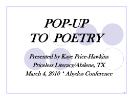 POP-UP TO POETRY - Priceless Literacy