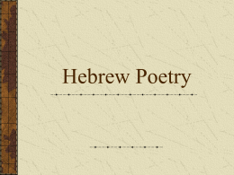 Hebrew Poetry - Bethel University