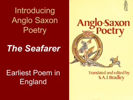 Introducing Anglo Saxon Poetry