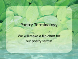 Poetry Terminology - Stewarts Creek Middle School