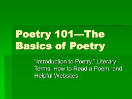 Basics of Poetry