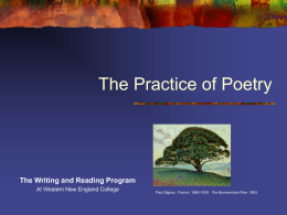 The Practice of Poetry - Western New England University