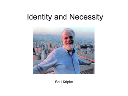 Identity and Necessity - University of San Diego Home Pages