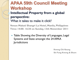 APAA Makati Conference Intellectual Property from a …