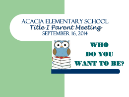 Acacia Elementary School Professional Development …