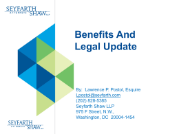 Benefits AndLegal Update