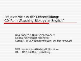 Projektarbeit in der Lehrerbildung: CD