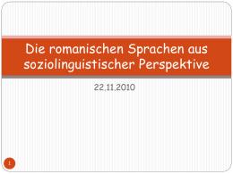 Die romanischen Sprachen aus soziolinguistischer …