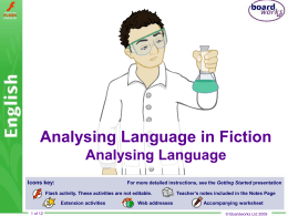 Analysing Language in Fiction