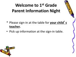 First Grade Curriculum Night