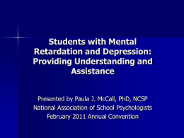 Students with Mental Retardation and Depression: …