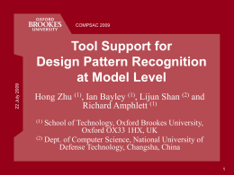 Tool Support for Design Pattern Recognition at Model …